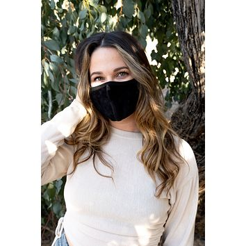BLACK - ADULT'S EAR COVER FACE MASK