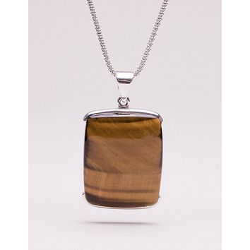 Tiger Eye Square Pendant Necklace - 24 inch Chain