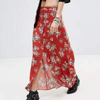 Honey Punch Button Front Maxi Skirt In Vintage Floral at asos.com