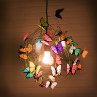 """Lamp with multicolor butterflies and green cord """"The miracle"""""""