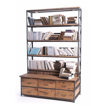 Wood and Metal Bookcase by Go Home Ltd.