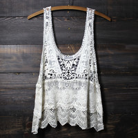 crochet lace beach cover up tank | natural