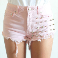 high waisted shorts with studs