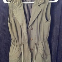 Military green vest with studs