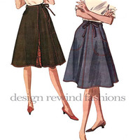 1960s Classic WRAP AROUND SKIRT- 4-Gore Flared Lined Skirt w/ Pockets Tie Belt -Easy to Sew- Waist 24-25 McCalls 6665 Vintage Sewing Pattern