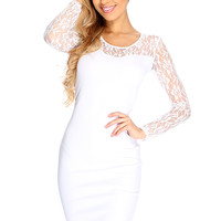 White Floral Lace Mesh Long Sleeve Sexy Bodycon Dress