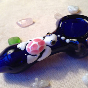 Sea Turtle Critter on Cobalt Blue Glass Pipe