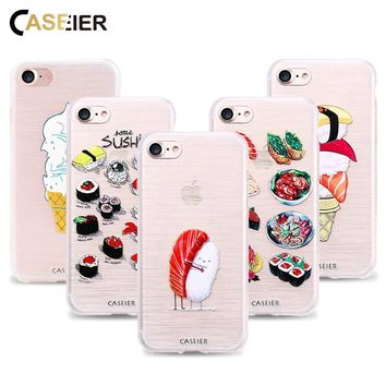CASEIER Soft TPU Case For iPhone 6 6S 7 8 Plus X 5 5S Sushi Patterned Cases For Samsung Galaxy S8 Plus S6 S7 Edge Note 8 Shells