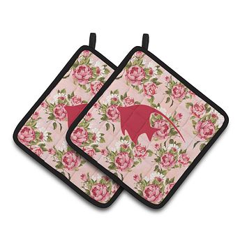 Fish - Angel Fish Shabby Chic Pink Roses  Pair of Pot Holders BB1019-RS-PK-PTHD