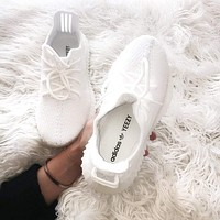 Bunchsun Adidas Yeezy 550 Boost 350 V2 Trending Women Men Stylish Sport Running Shoe Sneakers Full White I/A