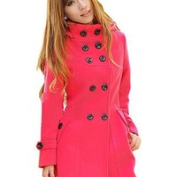 LANHUACAO Women Wool Blends Coat Trench Hooded Coat Long Jacket Outwear Overcoat: Clothing