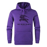 BURBERRY Autumn Winter Fashion Women Men Casual Print Long Sleeve Sweater Sweatshirt Hoodie Purple