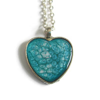 Aqua Heart Pendant necklace in antiqued silver tone heart, valentines day jewelry