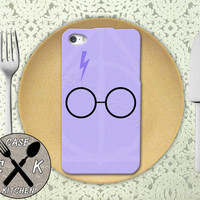 Harry Potter Inspired Glasses Scar Deathly Hallows Purple Custom Rubber Tough Phone Case For The iPhone 4 and 4s and iPhone 5 and 5s and 5c