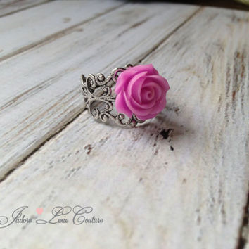 French Mauve Rose, Flower, Filigree, Beautiful, Adjustable, Ring, Womens Accessories, Vintage, Antique Style