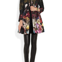 RED Valentino|Floral-print lightweight faille swing coat|NET-A-PORTER.COM