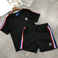 Adidas Popular Women Casual Embroidery Sport Short Sleeve Top Shorts Pants Sweatpants Set Two-Piece Sportswear Black I-A-ALCLFS