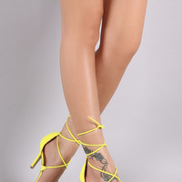 Nubuck Open Toe Lace-Up Stiletto Heel
