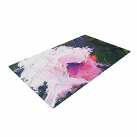 """Carol Schiff """"Textured Pink Rose"""" Green Painting Woven Area Rug"""