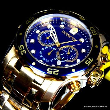 Mens Invicta Pro Diver Scuba Blue, 18kt Gold Plated Steel Chronograph Watch, New
