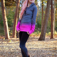 Grey and Pink Washed Color Ruched Hooded Sweatshirt