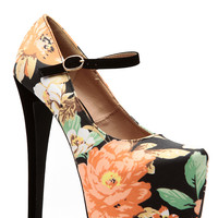 Glaze Black Floral Almond Toe Mary Jane Platform Pumps