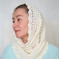 Scarf infinity off-white color Crocheted white cowl for spring White snood Gift idea for woman or girl