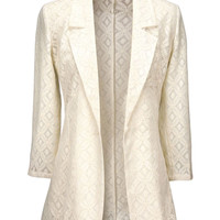 Beige Lace Long Sleeve Blazer