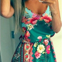 Casual Floral Printed Spaghetti Strap Drawstring Waist Mini Dress