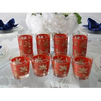 Vintage Red Gold Libbey Gold Tapestry Highball Lowball Glasses Set of 8