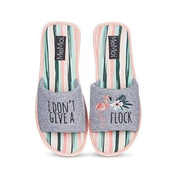 I Don't Give a Flock Summery Slide Slippers with Flamingo Design | Slip-On Soft Slides | Open Toe House Shoes | Indoor Shoes