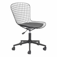 Wire Office Chair Black w/ Black Cushion