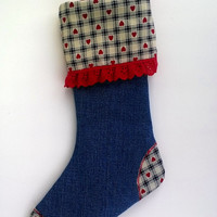 Upcycled Christmas Stocking, Denim with Plaid and Hearts Cuff and Red Trim 14""