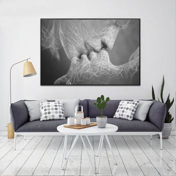Nordic Kissing Lovers Decorative Pictures No Frame Wall Arts Painting Home Decoration On Canvas Wall Pictures Decor