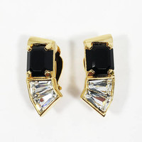 Swarovski Black Faceted Square Rhinestone Clip Ons Signed S.A.L. Vintage 1980 Clear Rhinestones on Crescent Shape Clip On Earrings
