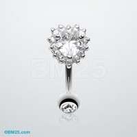 Radiant Heart Reverse Belly Button Ring