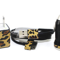 FAST SHIPPING Cheetah iPhone Car Charger, Wall Adapter and Cable