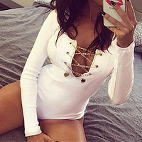 Plus Size ZANZEA Rompers Womens 2018 Slim Fit Playsuits Long Sleeve Tops Jumpsuit Sexy Bodysuit Ladies Lace Up Short Overalls