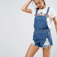 ASOS Denim Shorts Overall in Midwash Blue With Raw Hem at asos.com