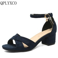 QPLYXCO 2017 women Concise sandals shoes woman Buckle strap sandals heels footwear heeled shoes Big &Small size 31-47 P07
