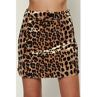 Hear Me Roar Leopard Print Skirt (Brown)