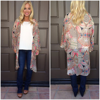 Feathers In My Hair Printed Kimono - TAUPE