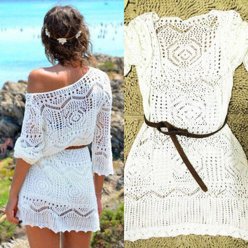 Sexy crochet knit beach dress