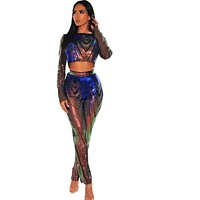 Women Sexy Sequins Two Piece Fashion Crop Top Pant Set