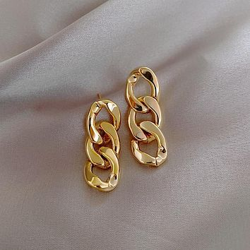 Korea Cuba Bright Gold Color Exaggerated Metal Chain Drop Earring Retro Punk Chain Earrings Vintage Jewelry