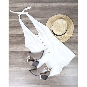 Cotton Candy - Fairgrounds Linen Romper in White