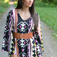 Pink Paradise Aztec Belted Dress