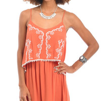 Adventures Abroad Embroidered Layered Cami Dress