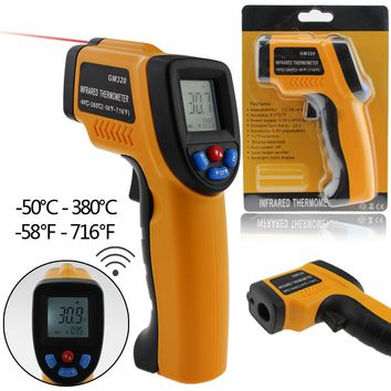 Professional Digital LCD Infrared Thermometer Non-contact IR Temperature Measurement Gun Meter for Hot water pipes Engine parts
