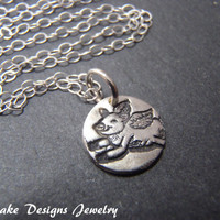 flying pig necklace sterling silver recycled silver